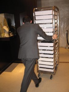 Our VCART makes transporting many trays at a time into a cakewalk