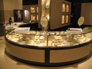 Trays are safe on glass display cabinets