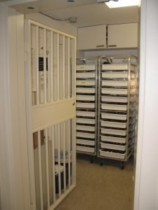 Carts and trays can be safely stored in existing vaults